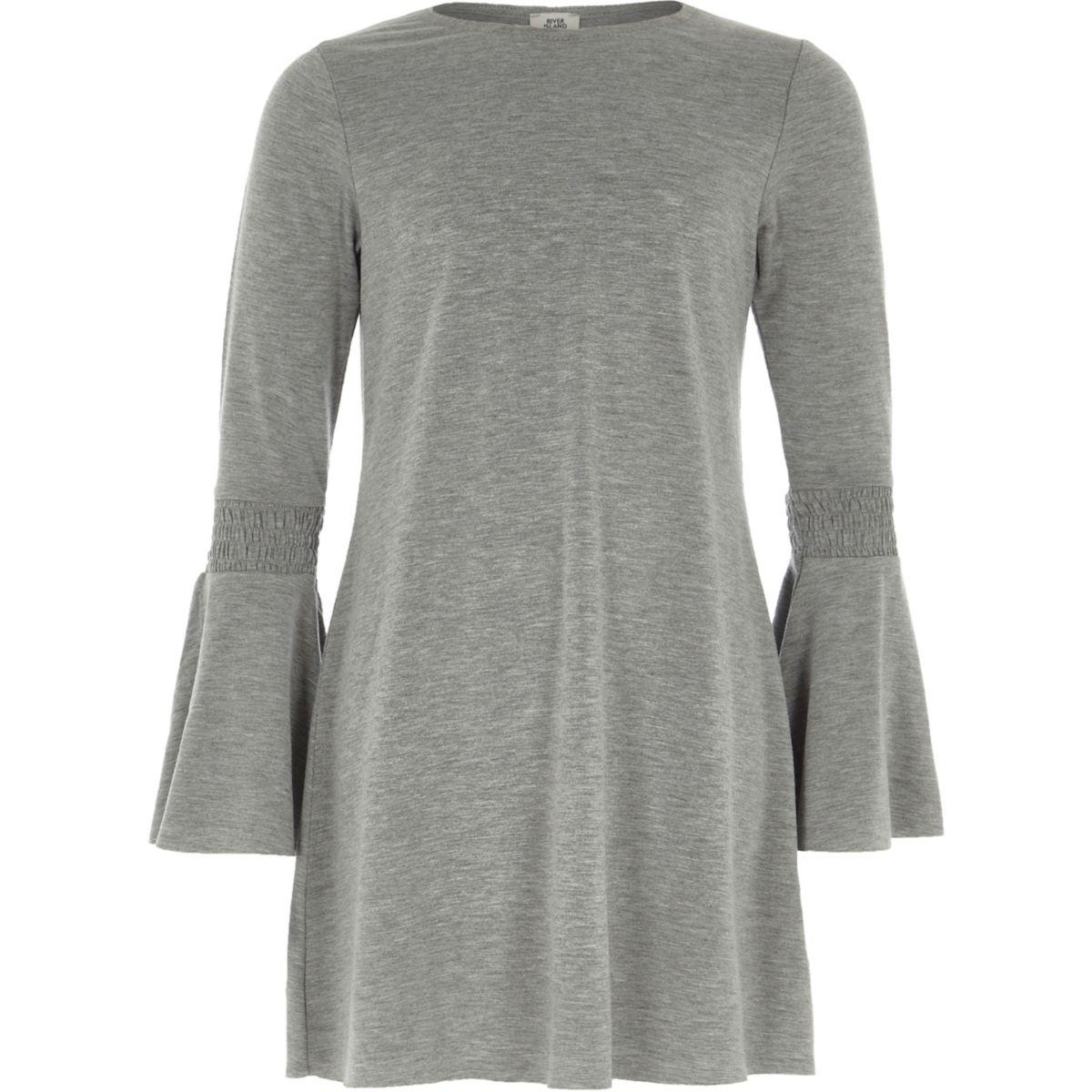 Girls grey marl flare sleeve swing dress
