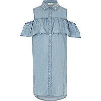 Girls blue denim embellished frill dress