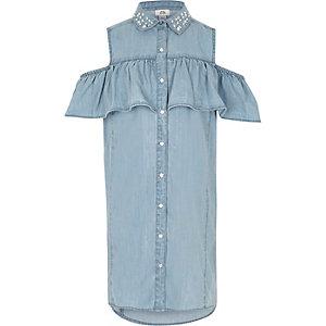 Blauwe versierde denim jurk met ruches voor meisjes