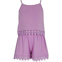 Girls purple layer crochet trim cami romper