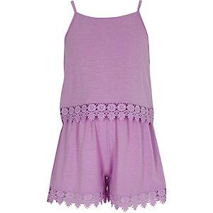 Girls purple layer crochet trim cami playsuit