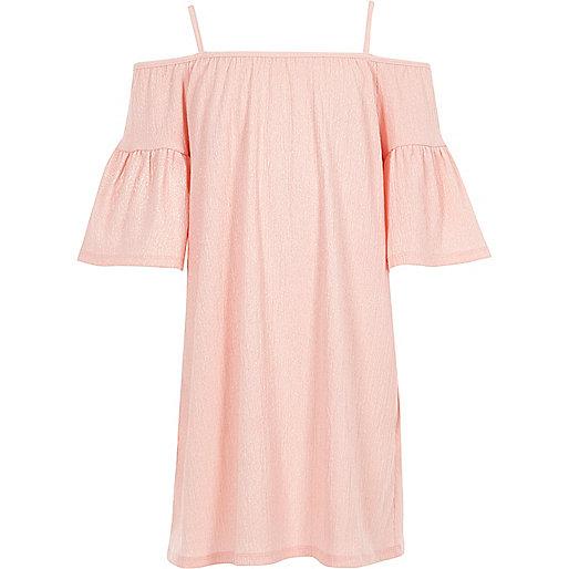 Girls pink lurex cold shoulder dress