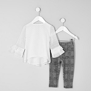 Mini girls white dobby mesh frill top outfit
