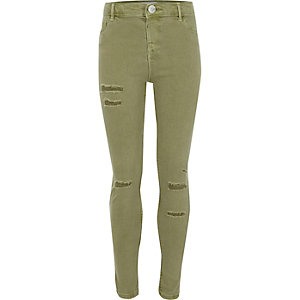 Girls khaki ripped Molly jeggings
