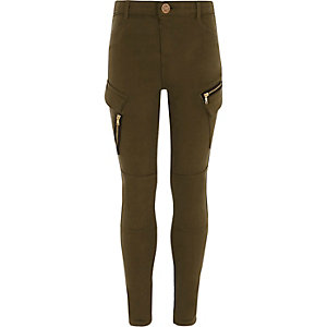 Girls khaki skinny fit cargo trousers