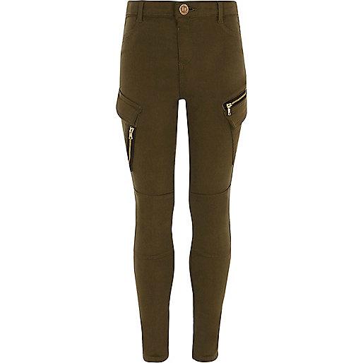 Girls khaki skinny fit cargo pants