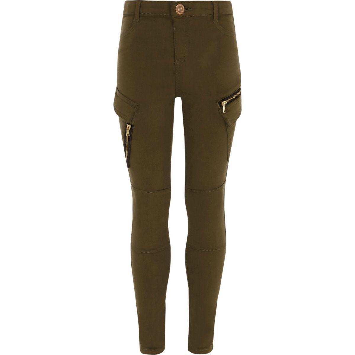 Girls khaki skinny fit cargo trousers
