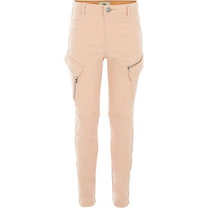 Girls pink cargo pocket trousers