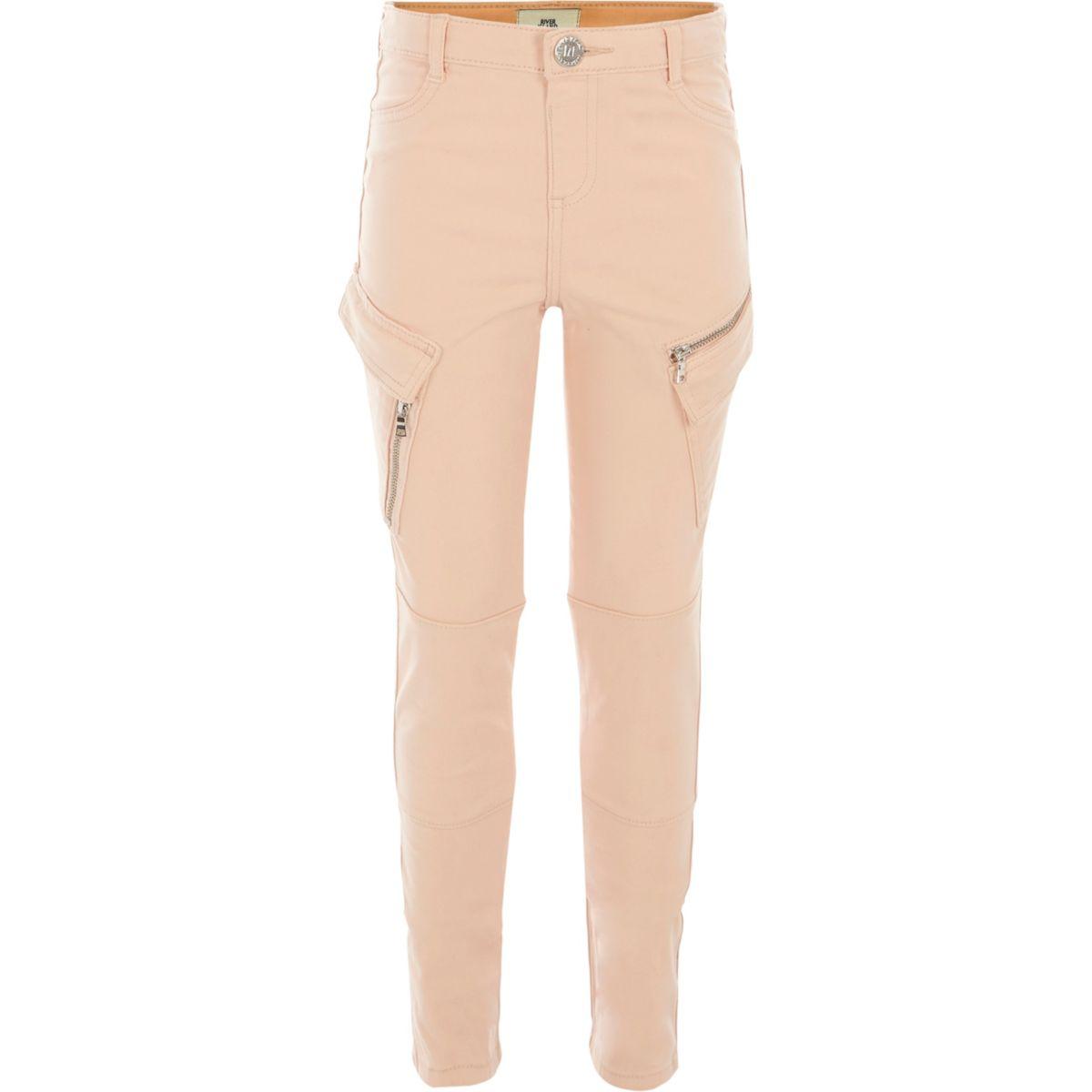 Girls pink cargo pocket pants