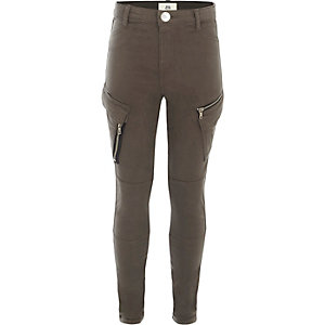 Girls grey skinny fit cargo trousers