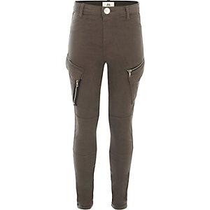 Girls grey skinny fit cargo pants