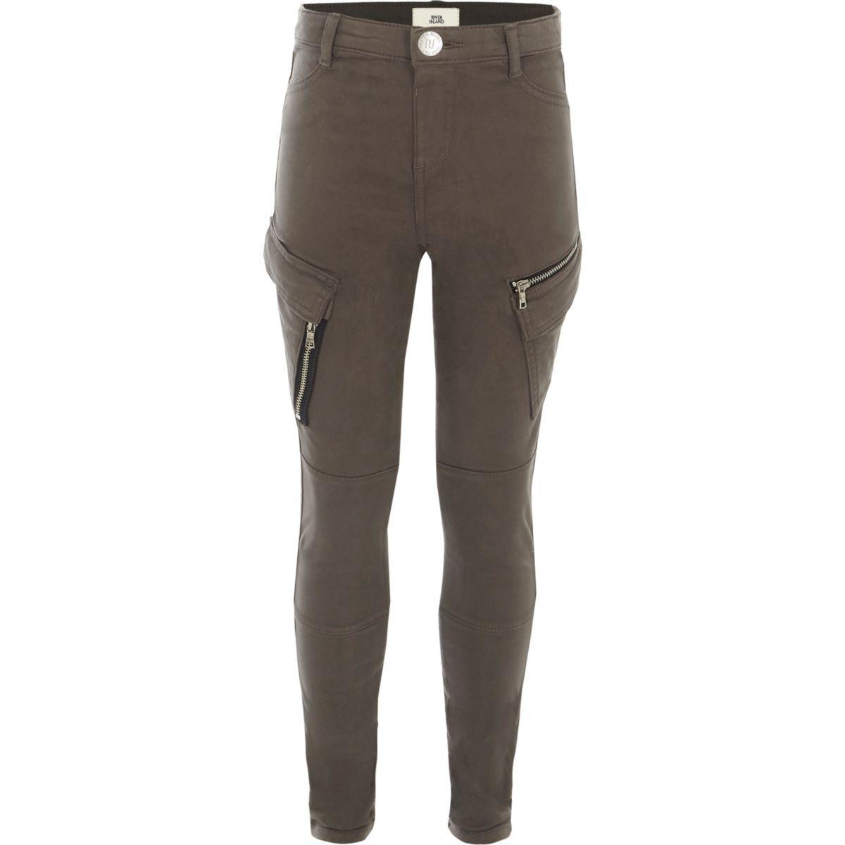 Girls grey skinny fit cargo trousers