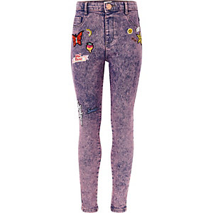 Girls purple acid wash Molly badged jeggings