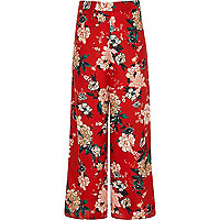 Girls red floral palazzo pants