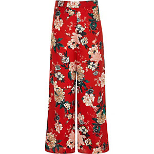 Girls red floral palazzo trousers