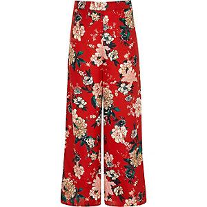 Pantalon palazzo à fleurs rouge fille