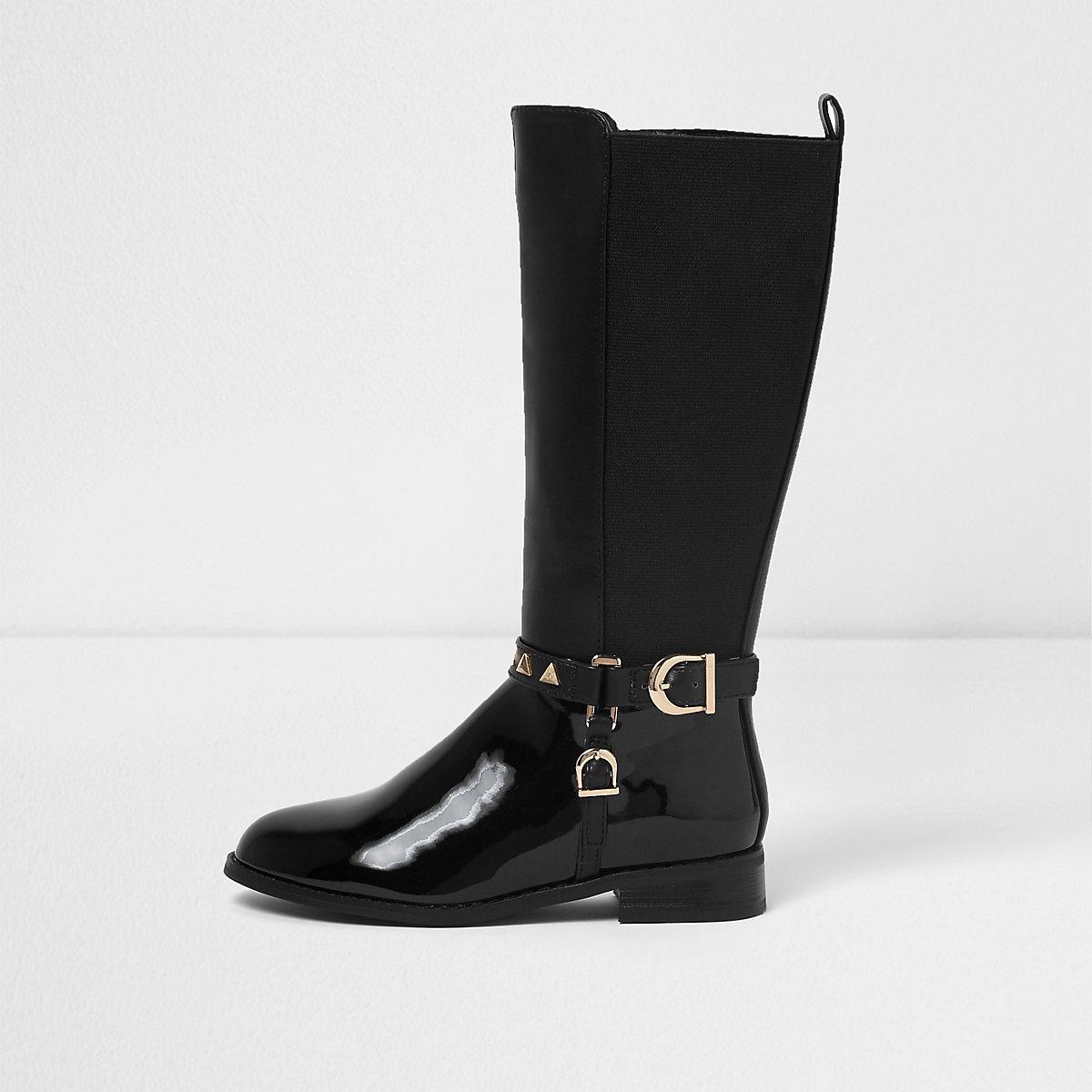 Girls black knee high studded riding boots
