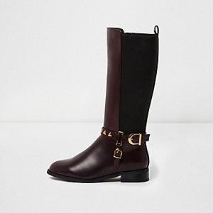 Girls dark red buckle knee high riding boots