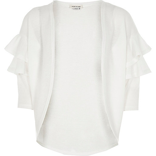Girls white frill sleeve cardigan