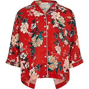 Girls red floral print shirt