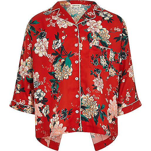Girls red floral print shirt