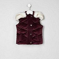 Mini girls dark purple padded velvet vest