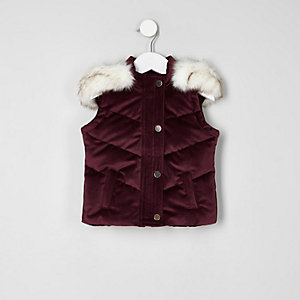 Mini girls dark purple padded velvet gilet