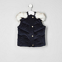 Mini girls navy velvet padded gilet