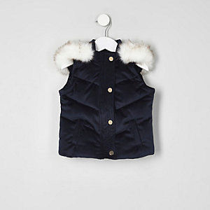 Mini girls navy velvet padded vest