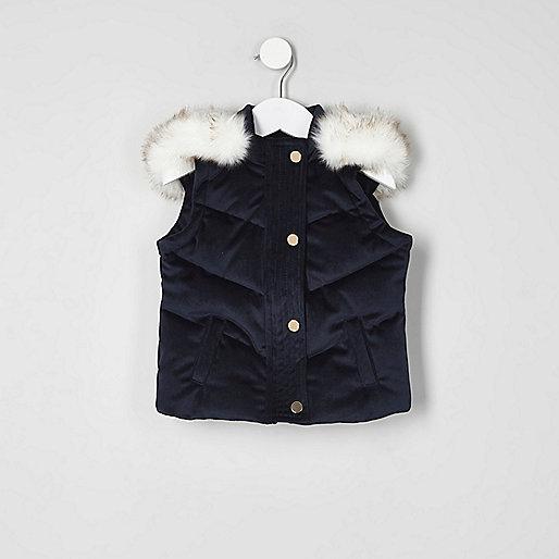 Mini girls navy velvet padded vest