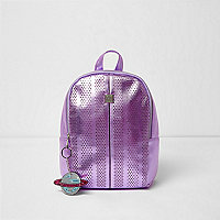 Girls purple metallic laser cut backpack