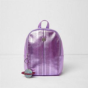 Sac à dos violet métallisé découpé au laser pour fille