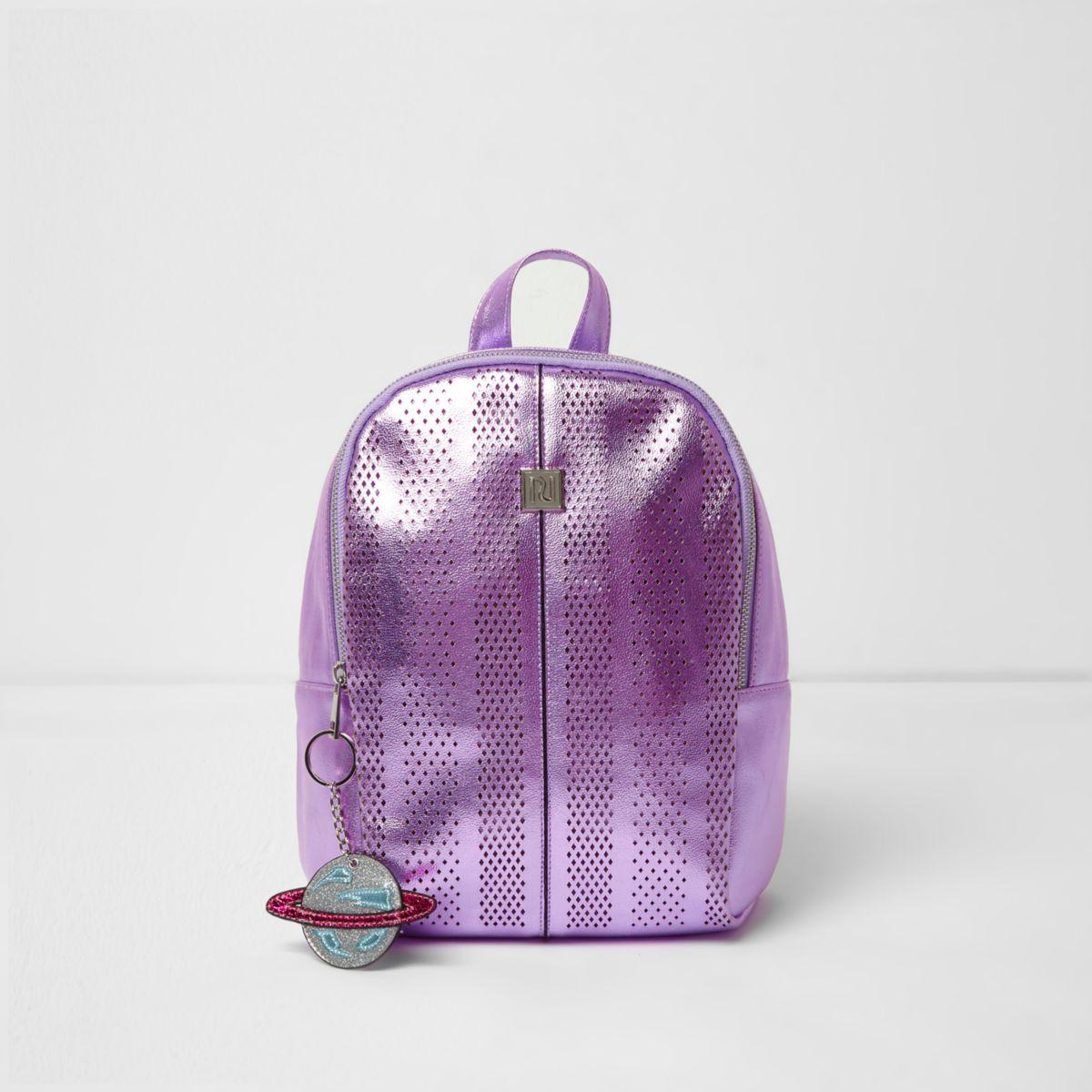 Girls purple metallic laser cut backpack