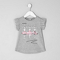 Mini girls grey ballerina print T-shirt