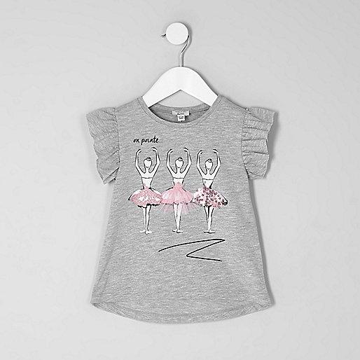 Mini girls grey ballerina print T-shirt