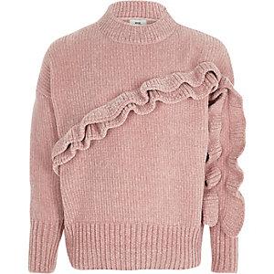 Pull en maille chenille rose à volants pour fille