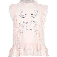 Girls pink frill high neck embroidered top