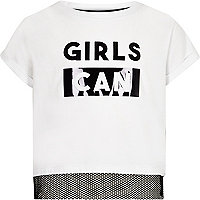 Girls white 'girls can' mesh insert T-shirt