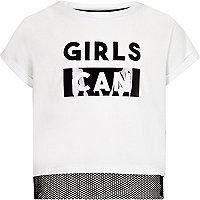 T-shirt «Girls can» blanc avec empiècements en tulle pour fille