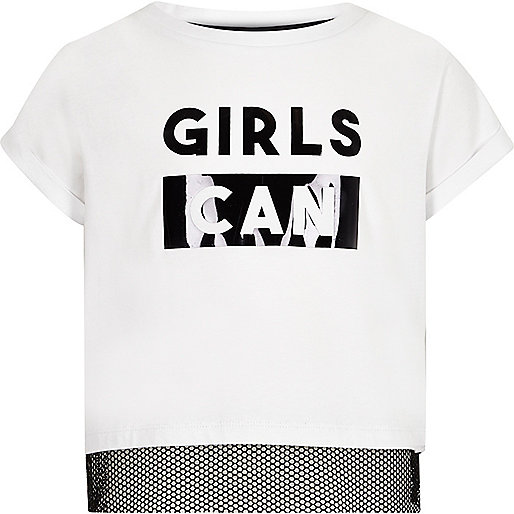 Girls white 'girls can' mesh insert T-shirt