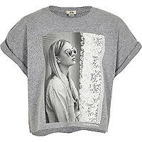 Girls grey photo print cropped T-shirt