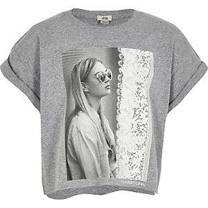 T-shirt court imprimé photo gris pour fille