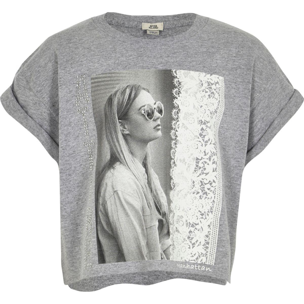 Girls grey photo print cropped T-shirt