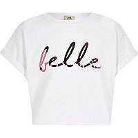 Girls white 'Belle' print cropped T-shirt