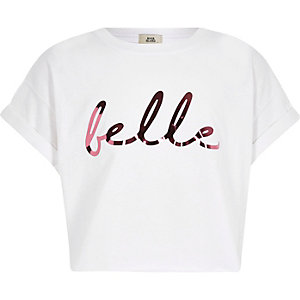 Girls white 'Belle' print cropped T-shirt