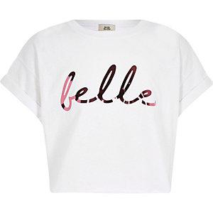 """Weißes, kurzes T-Shirt mit """"Belle""""-Print"""