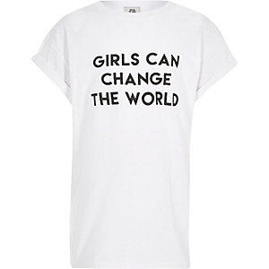 Girls white print boyfriend T-shirt