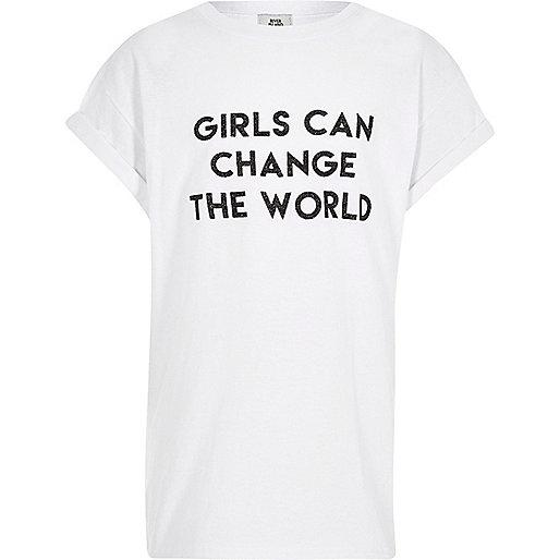 Girls white print boyfriend T-shirt