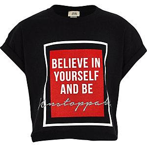 T-shirt court imprimé « be yourself » noir fille
