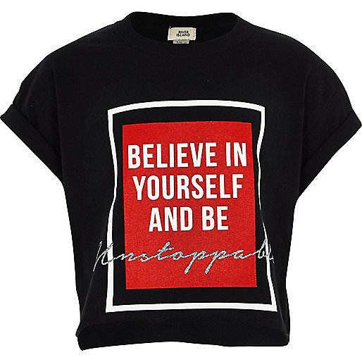 Girls black 'be yourself' cropped T-shirt